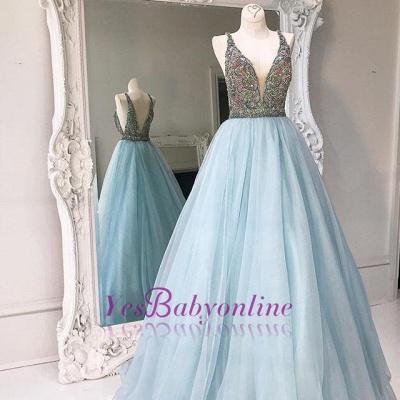 Zipper Sleeveless A-line Tulle Crystals V-neck Stunning Prom Dress_1