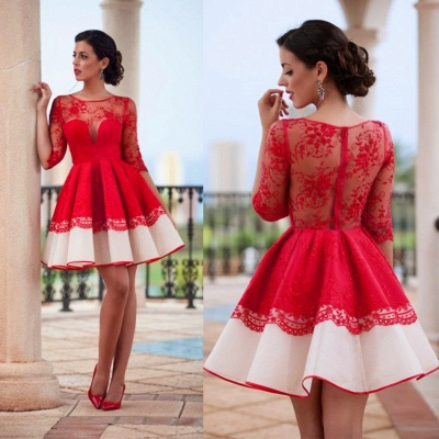 Lace Half Sleeve Short Homecoming Dress Sheer Back Sexy Evening Dress BA3268_3