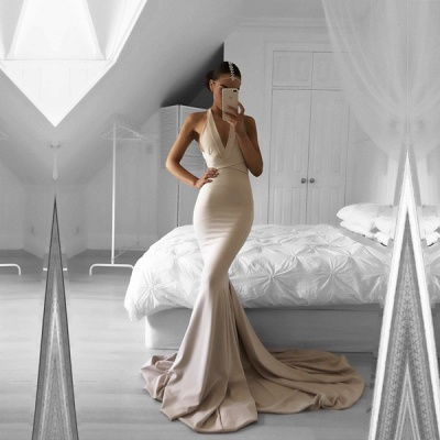 Halter Mermaid Long Prom Dress Nude V-Neck Sleeveless Evening Gowns_3