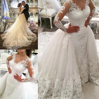 Glamorous Detachable-Skirt Tulle Appliques V-Neck Long Sleevess Wedding Dress_5