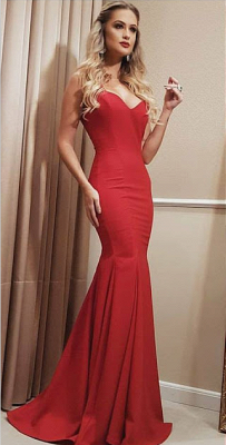 Sweetheart Floor Red Long Length Mermaid Prom Dress_3