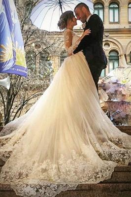 Glamorous Detachable-Skirt Tulle Appliques V-Neck Long Sleevess Wedding Dress_2