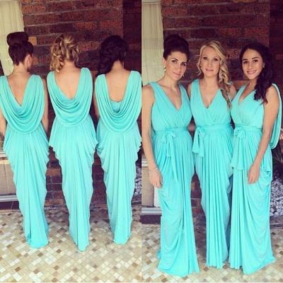 2019 Blue Ruffles Bridesmaid Dresses V-Neck Draped Back long Wedding Party Dresses_4