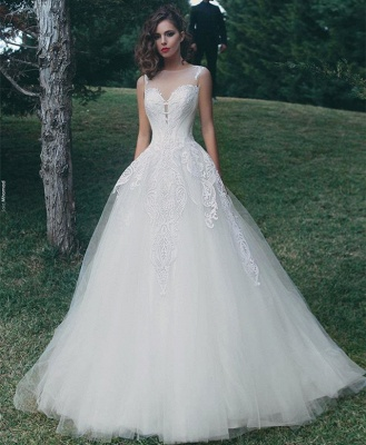 Glamorous Sleeveless A-Line Tulle Appliques Wedding Dress_3