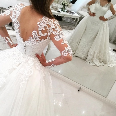 Glamorous Detachable-Skirt Tulle Appliques V-Neck Long Sleevess Wedding Dress_3