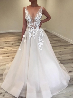 Sexy A-Line V-Neck Wedding Dresses | Sleeveless Lace Applique Flower Bridal Gowns_1