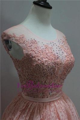 Short Beadings Appliques Lace Hi-Lo Elegant Sleeveless Homecoming Dress_4