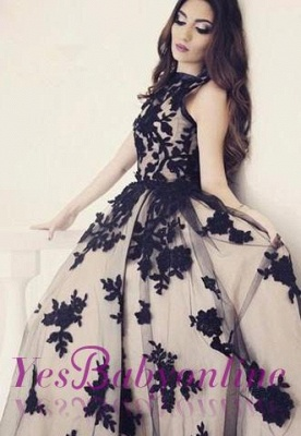 Apppliques Scoop-Neckline Ball-Gown Elegant Sweep-train Prom Dress_4
