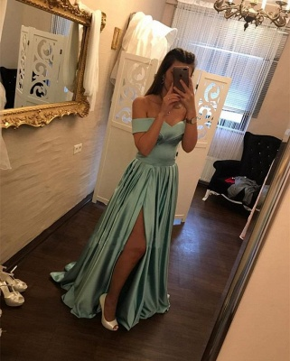 V-Neck Split Off-The-Shoulder Dresses A-Line Side Prom Evening Dresses_4