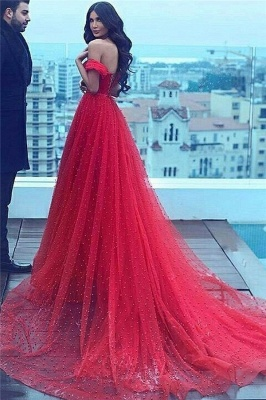 Court-Train Red Sweetheart A-line Off-the-shoulder Beading Amazing Evening Dress_3