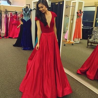 Deep-V-Neck Sexy Red  Cap-Sleeves Velvet Prom Dress_3