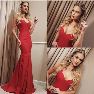 Sweetheart Floor Red Long Length Mermaid Prom Dress_2
