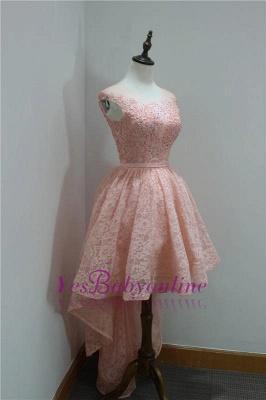 Short Beadings Appliques Lace Hi-Lo Elegant Sleeveless Homecoming Dress_5