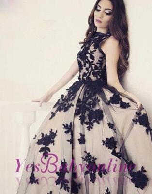 Apppliques Scoop-Neckline Ball-Gown Elegant Sweep-train Prom Dress_3