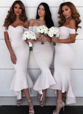 Modern Hi-Lo Mermaid Bridesmaid Dresses | Chic Simple Sleeveless Wedding Party Dresses_2