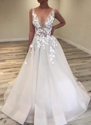 Sexy A-Line V-Neck Wedding Dresses | Sleeveless Lace Applique Flower Bridal Gowns_2