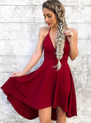Newest Red Spaghetti Strap A-line Homecoming Dress | Short Party Gown_1