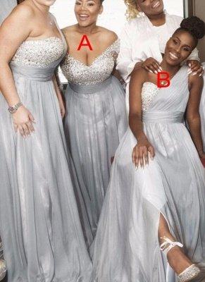 Silver Chiffon One-shoulder Bridesmaid Dresses | Long A-line Wedding Guest Dresses_1