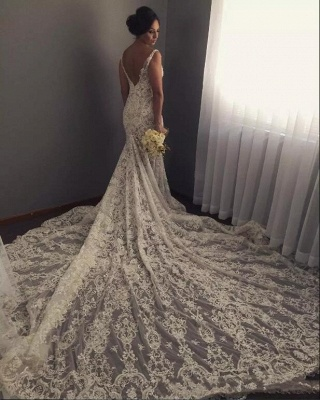 Geogrous Mermaid Lace Wedding Dresses | V-Neck Sleeveless Bridal Gowns_3