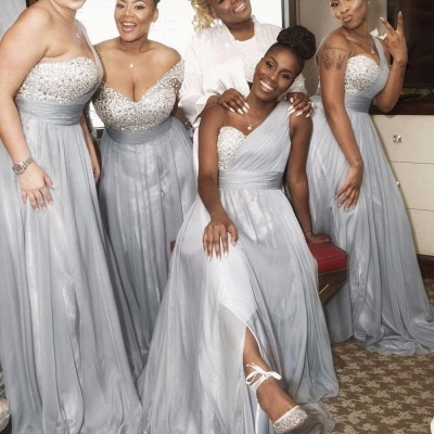 Silver Chiffon One-shoulder Bridesmaid Dresses | Long A-line Wedding Guest Dresses_3