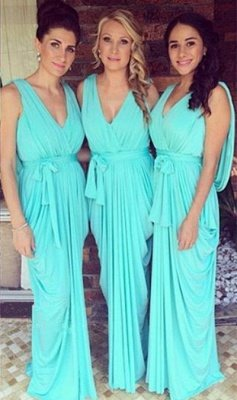 2019 Blue Ruffles Bridesmaid Dresses V-Neck Draped Back long Wedding Party Dresses_2