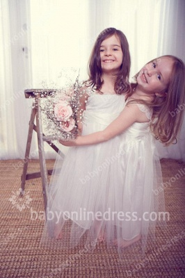 White Spring Tulle Flower Girl Dresses | Square Appliques A Line Pageant Dresses for Girls