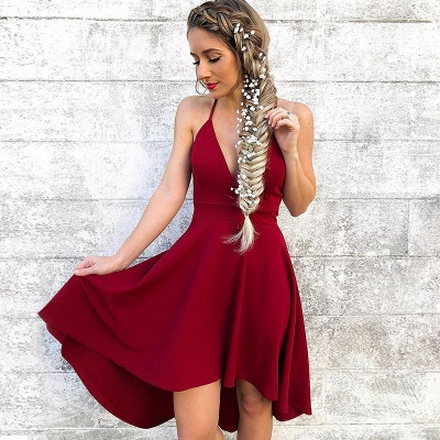 Newest Red Spaghetti Strap A-line Homecoming Dress | Short Party Gown_3