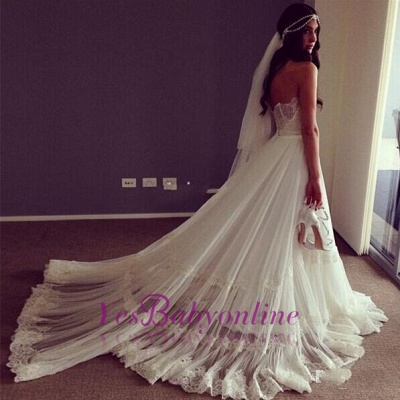 Sweep Train Lace Chic Sleeveless Strapless A-line Wedding Dress_1