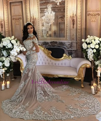 High-Neck Silver Long-Sleeve Lace Charming Mermaid Wedding Dresses_1