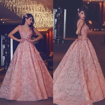 V-Neck Beading Puffy Lace Luxury Pink Flowers Evening Gowns_5