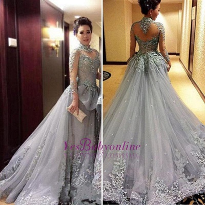 Grey Long Sleeves Pageant Dresses High Neck Appliques Modest Prom Dresses_1