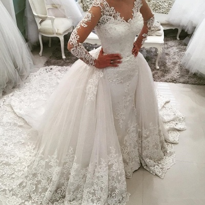 Glamorous Detachable-Skirt Tulle Appliques V-Neck Long Sleevess Wedding Dress_4