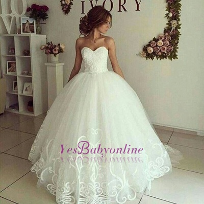 Sweetheart Glamorous Appliques Ball-Gown Wedding Dresses_1