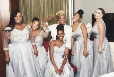 Silver Chiffon One-shoulder Bridesmaid Dresses | Long A-line Wedding Guest Dresses_4