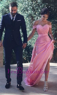 Long Candy-Pink A-Line Natural Off-the-Shoulder Lace Lace Prom Dresses_1