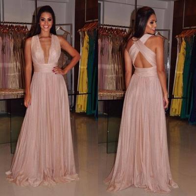 Deep-V-Neck Sexy Length Cross-Back Sheath Floor Prom Dress_3