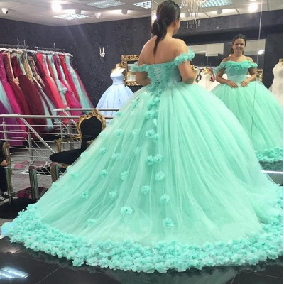 Off-The-Shoulder Mint-Green Ball-Gown Rose-Flowers Cloud Prom Dresses_4