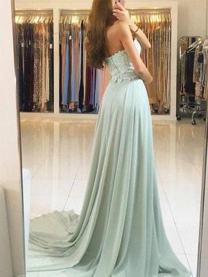 Elegant Sweetheart Prom Dresses | A-Line Lace Appliques Chiffon Evening Dresses_3