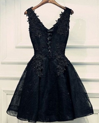 Black Lace Beaded Homecoming Dresses | A-line Short Prom Dresses_3