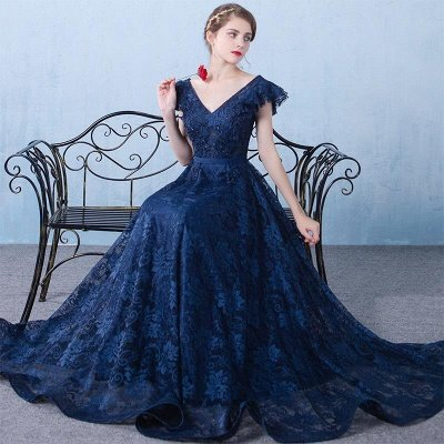 Elegant Dark Navy Prom Dresses Lace Beading V-Neck Ruffles Sleeves A-line Evening Gowns_4
