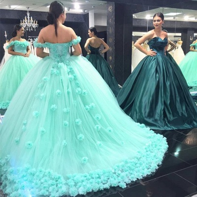 Off-The-Shoulder Mint-Green Ball-Gown Rose-Flowers Cloud Prom Dresses_3