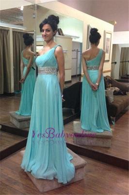 Empire  Beading One-Shoulder Long Sleeveless Prom Dresses_1