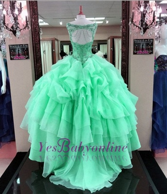 Ruffles Scoop Quinceanera Mint Gown Beading Green Sleeveless Dresses Ball Long Cascading Prom Dresses_4