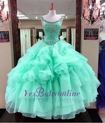 Ruffles Scoop Quinceanera Mint Gown Beading Green Sleeveless Dresses Ball Long Cascading Prom Dresses_1