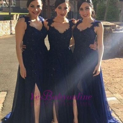 Navy-Blue Chiffon Lace-Appliques Side-Slit A-line Bridesmaid Dresses_1