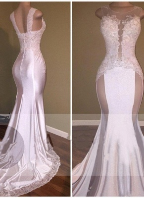 Glossy White Mermaid Prom Dresses Beading Lace Appliques Sheer Formal Dresses_3