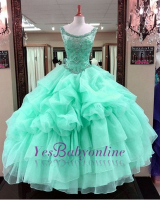 Ruffles Scoop Quinceanera Mint Gown Beading Green Sleeveless Dresses Ball Long Cascading Prom Dresses_2