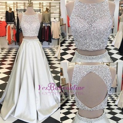 A-line Sleeveless Two-Piece Gorgeous Jewel Crystals Prom Dress_1