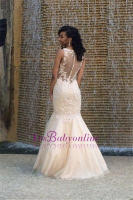 2019 Gorgeous Sexy Mermaid Prom Dresses Sleeveless Lace Appliques Appliques Evening Gowns_1