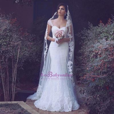 Sweetheart Tulle Glamorous Appliques Straps Mermaid Wedding Dresses_1